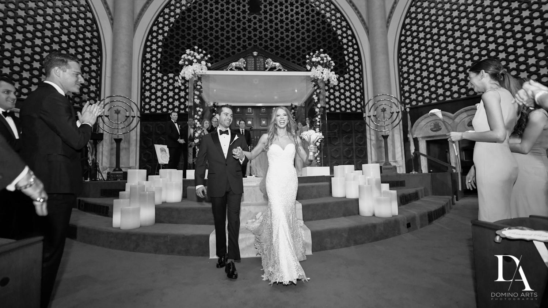 B&W photos at Tropical Luxury Wedding at Temple Emmanu-El in Miami Beach
