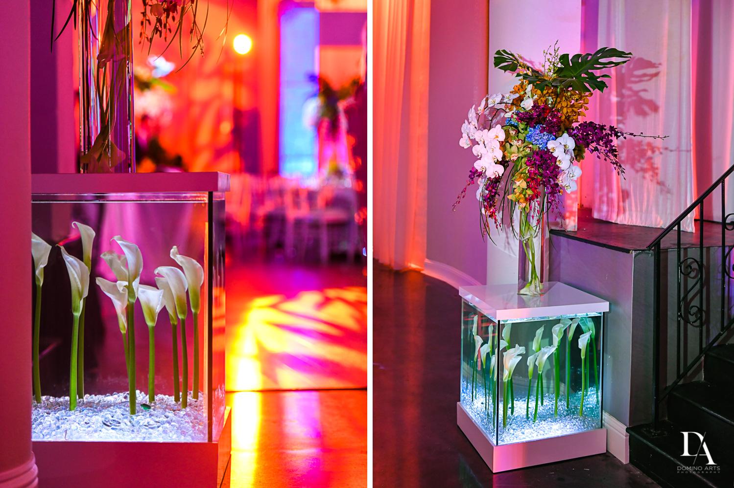 flowers in water at Tropical Luxury Wedding at Temple Emmanu-El in Miami Beach