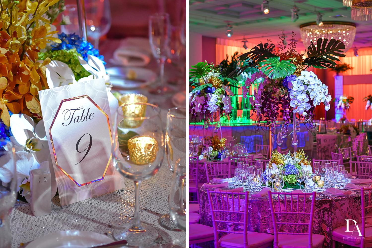 unique colorful decor at Tropical Luxury Wedding at Temple Emmanu-El in Miami Beach