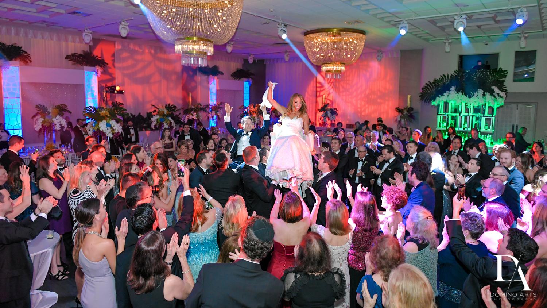 hora at Tropical Luxury Wedding at Temple Emmanu-El in Miami Beach