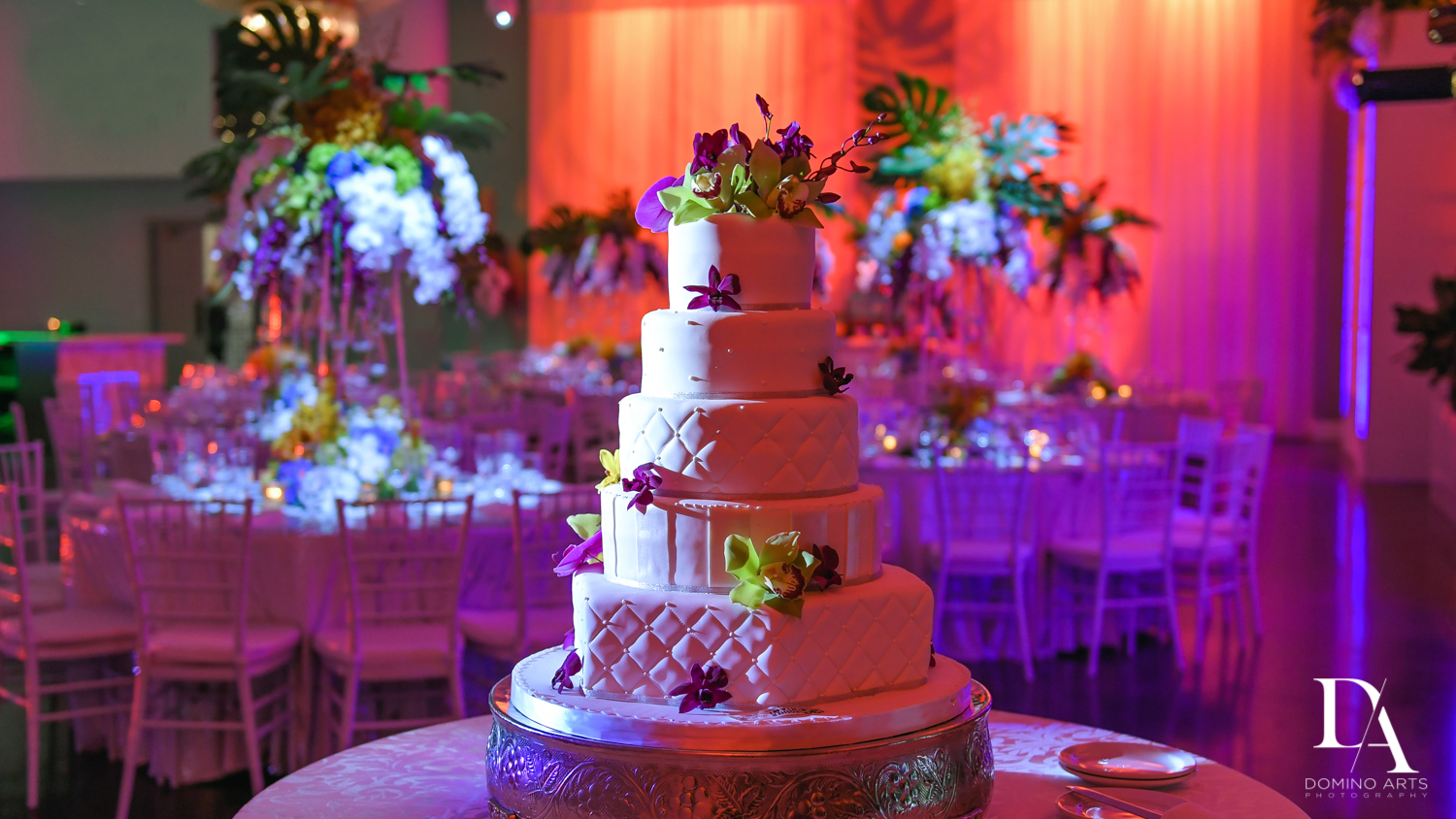 beautuful cake at Tropical Luxury Wedding at Temple Emmanu-El in Miami Beach