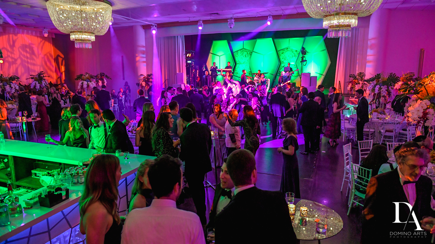 colorful party at Tropical Luxury Wedding at Temple Emmanu-El in Miami Beach