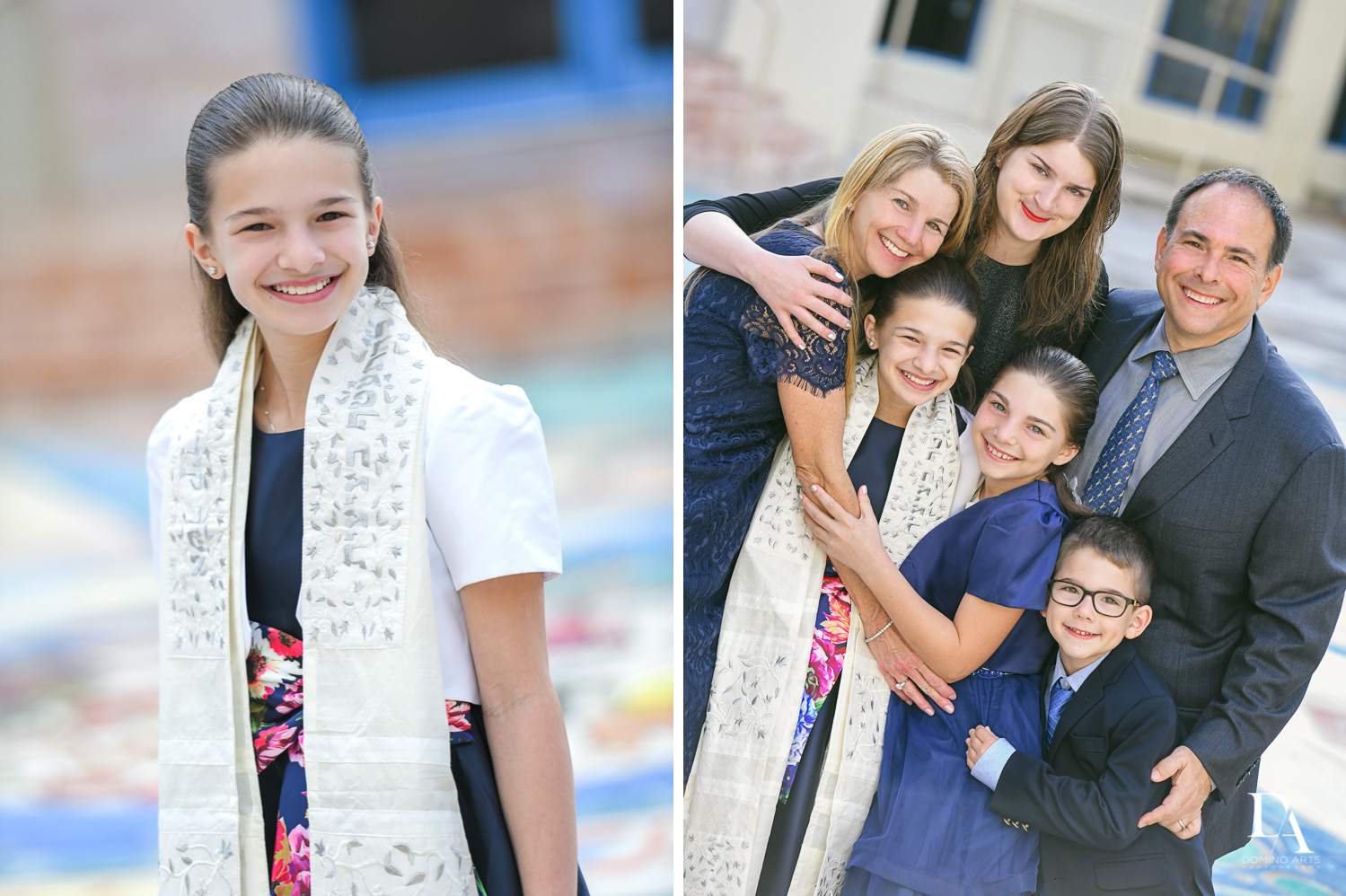 family at Madeline in Paris theme Bat Mitzvah at Boca Raton Resort and Club by Domino Arts Photography