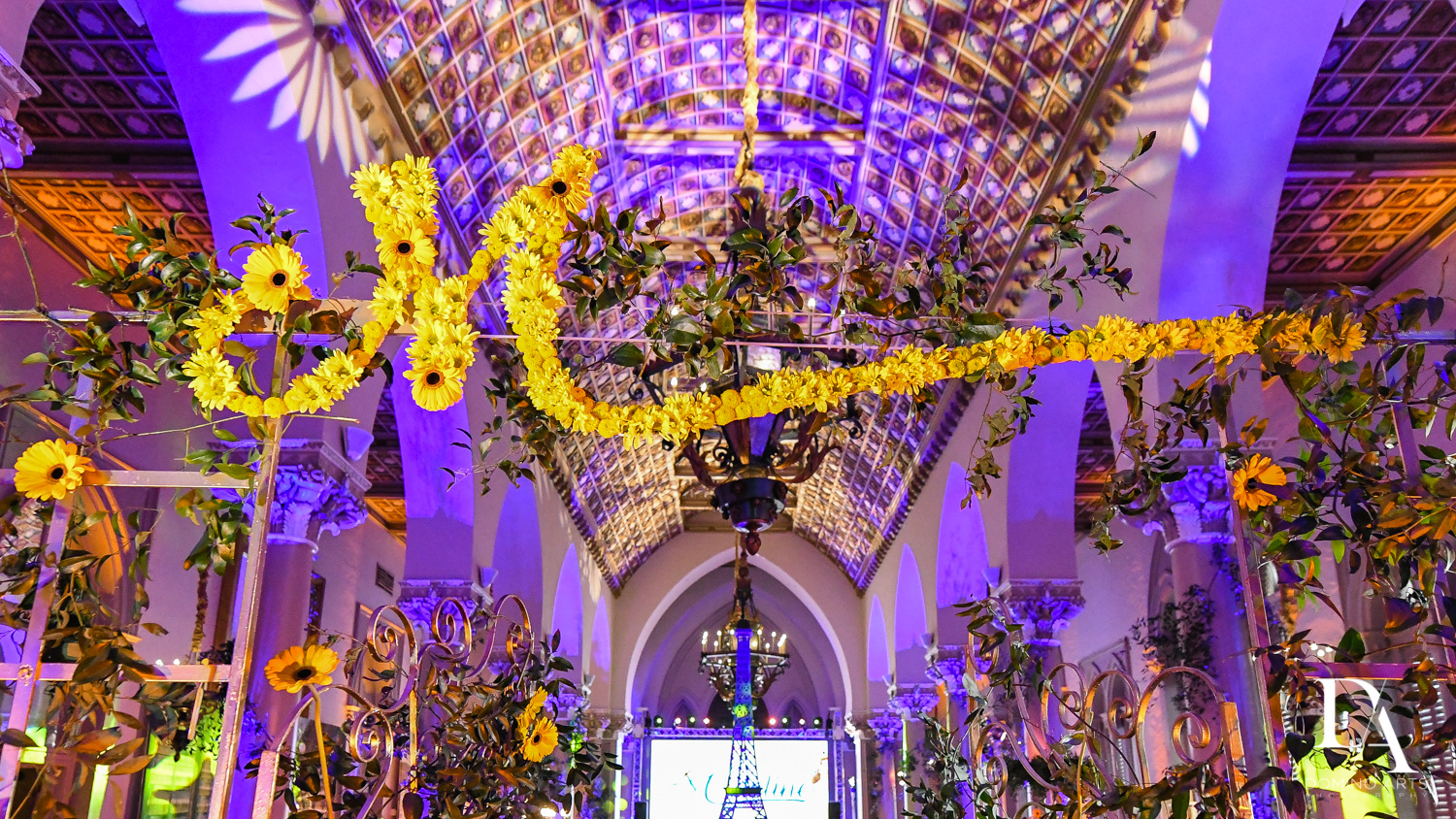 floral letters at Madeline in Paris theme Bat Mitzvah at Boca Raton Resort and Club by Domino Arts Photography