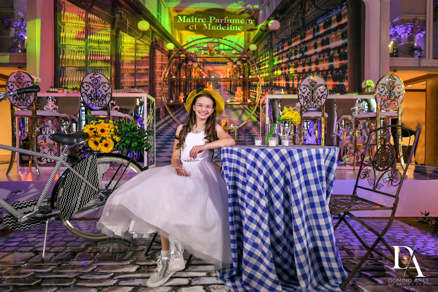 custom backdrop at Madeline in Paris theme Bat Mitzvah at Boca Raton Resort and Club by Domino Arts Photography