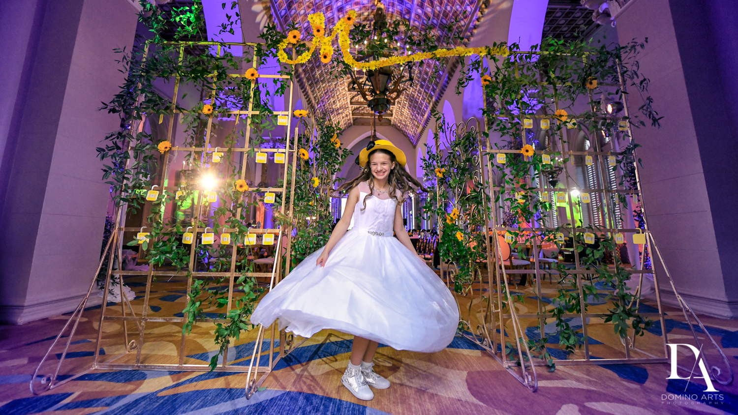 fun portraits at Madeline in Paris theme Bat Mitzvah at Boca Raton Resort and Club by Domino Arts Photography