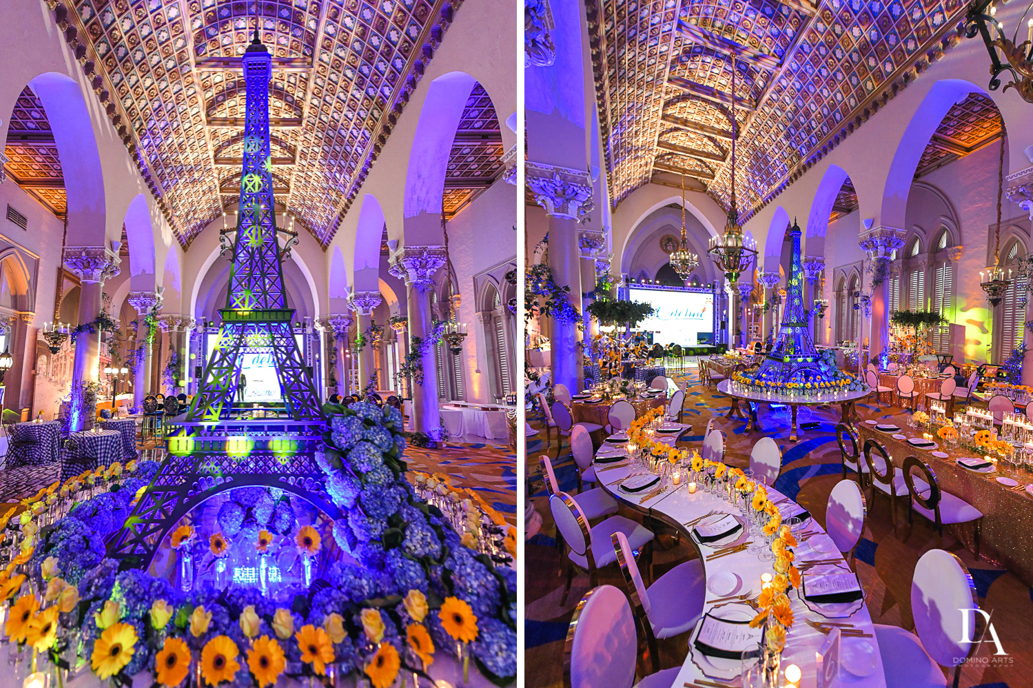 amazing luxury decor at Madeline in Paris theme Bat Mitzvah at Boca Raton Resort and Club by Domino Arts Photography