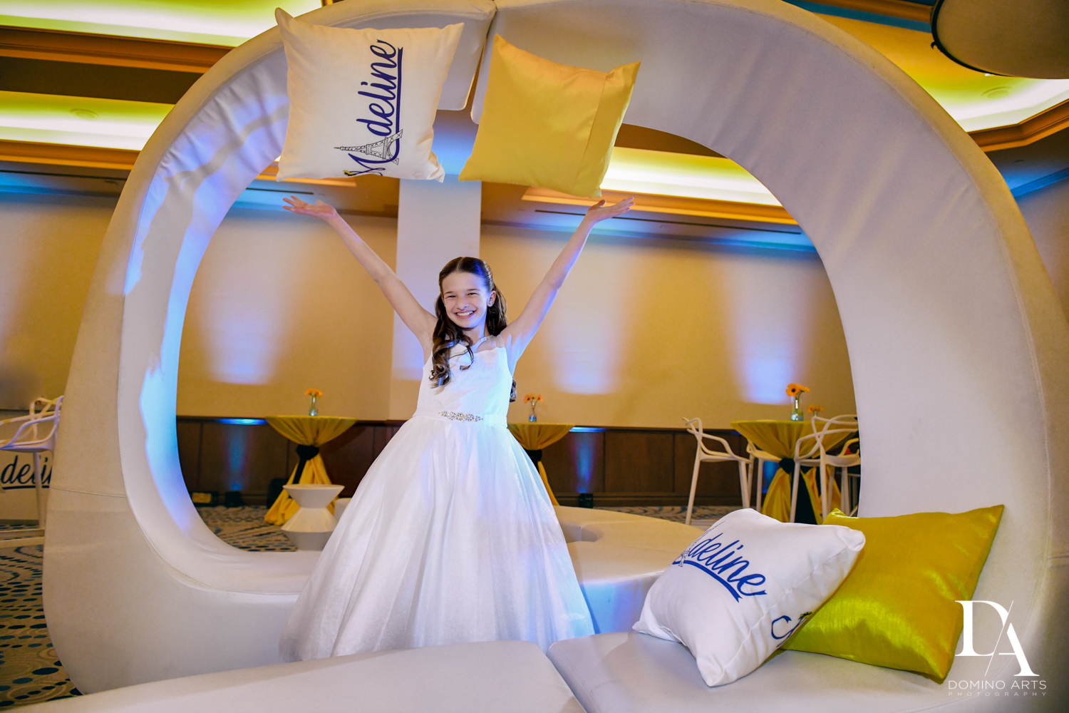 fun pictures at Madeline in Paris theme Bat Mitzvah at Boca Raton Resort and Club by Domino Arts Photography