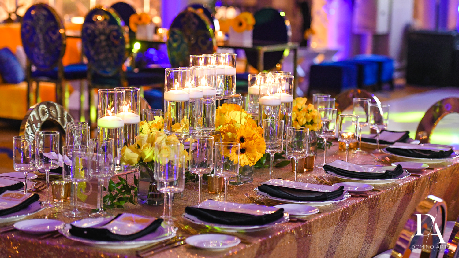 flowers and candles at Madeline in Paris theme Bat Mitzvah at Boca Raton Resort and Club by Domino Arts Photography
