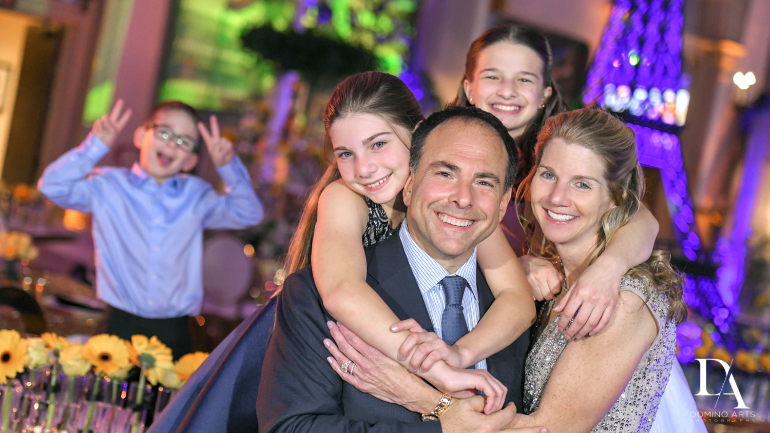 fun family at Madeline in Paris theme Bat Mitzvah at Boca Raton Resort and Club by Domino Arts Photography
