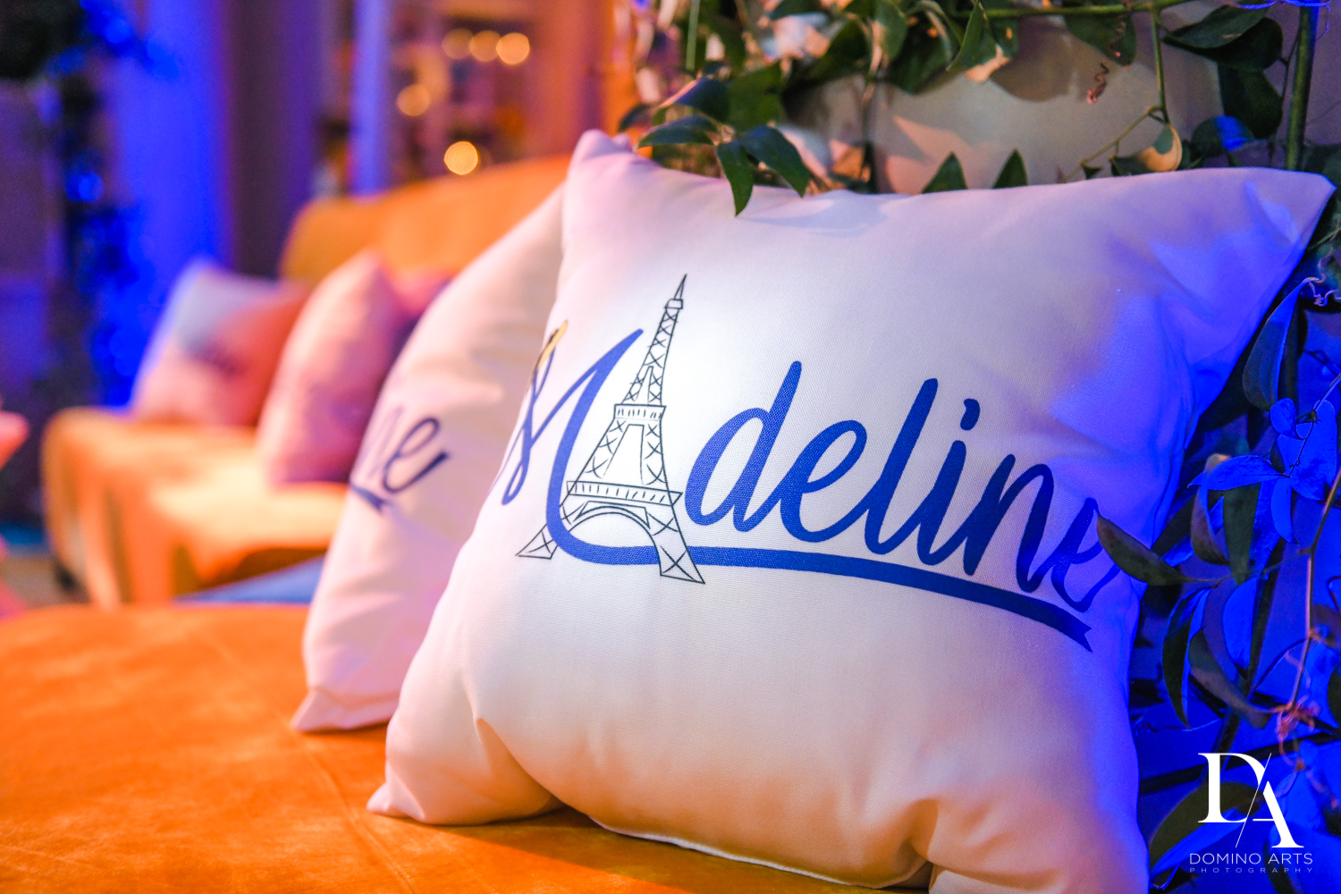 custom pillows at Madeline in Paris theme Bat Mitzvah at Boca Raton Resort and Club by Domino Arts Photography