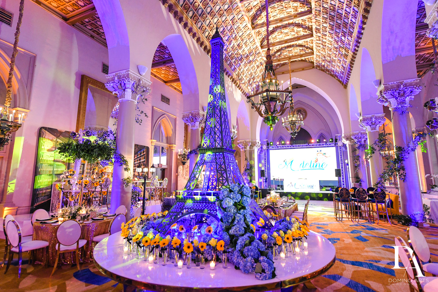 eiffel tower at Madeline in Paris theme Bat Mitzvah at Boca Raton Resort and Club by Domino Arts Photography