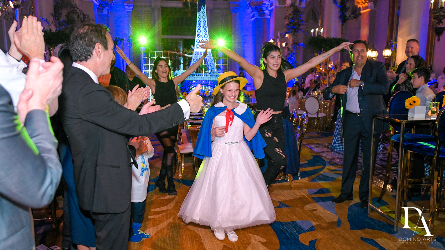 best party entrance at Madeline in Paris theme Bat Mitzvah at Boca Raton Resort and Club by Domino Arts Photography