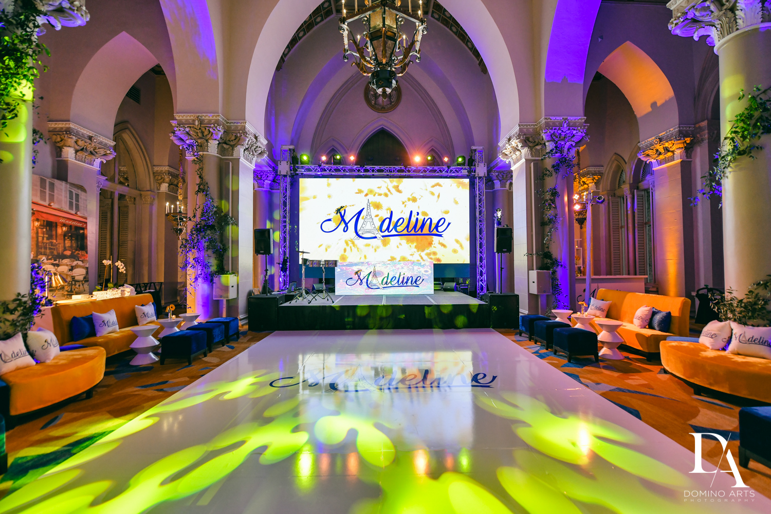 dance floor at Madeline in Paris theme Bat Mitzvah at Boca Raton Resort and Club by Domino Arts Photography