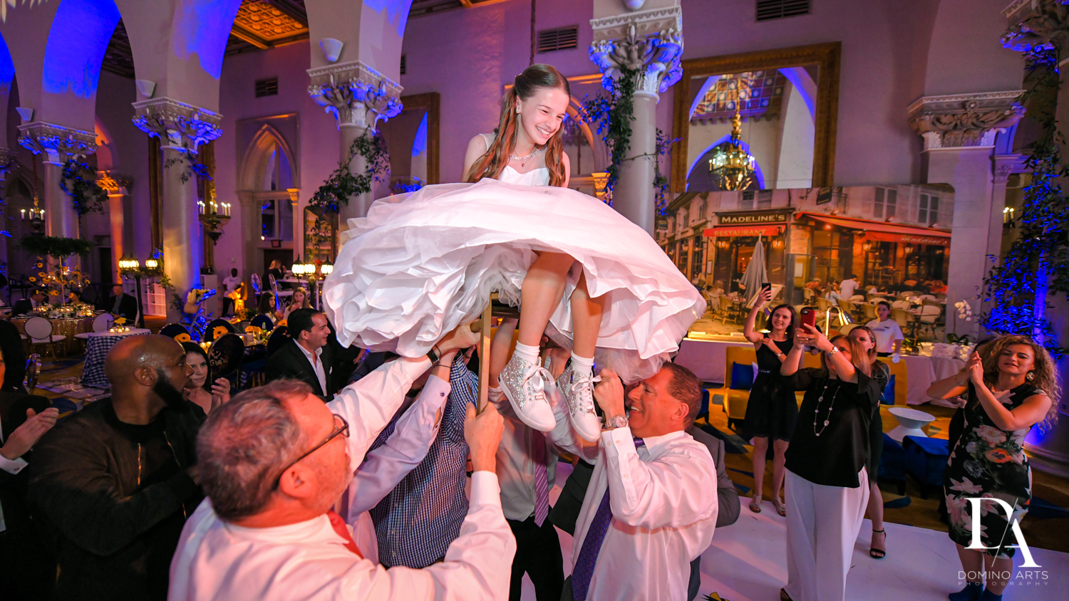 hora at Madeline in Paris theme Bat Mitzvah at Boca Raton Resort and Club by Domino Arts Photography