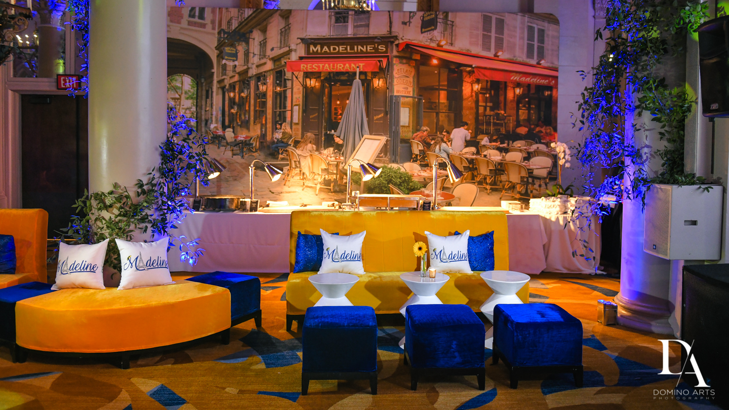 colorful furniture and rentals at Madeline in Paris theme Bat Mitzvah at Boca Raton Resort and Club by Domino Arts Photography