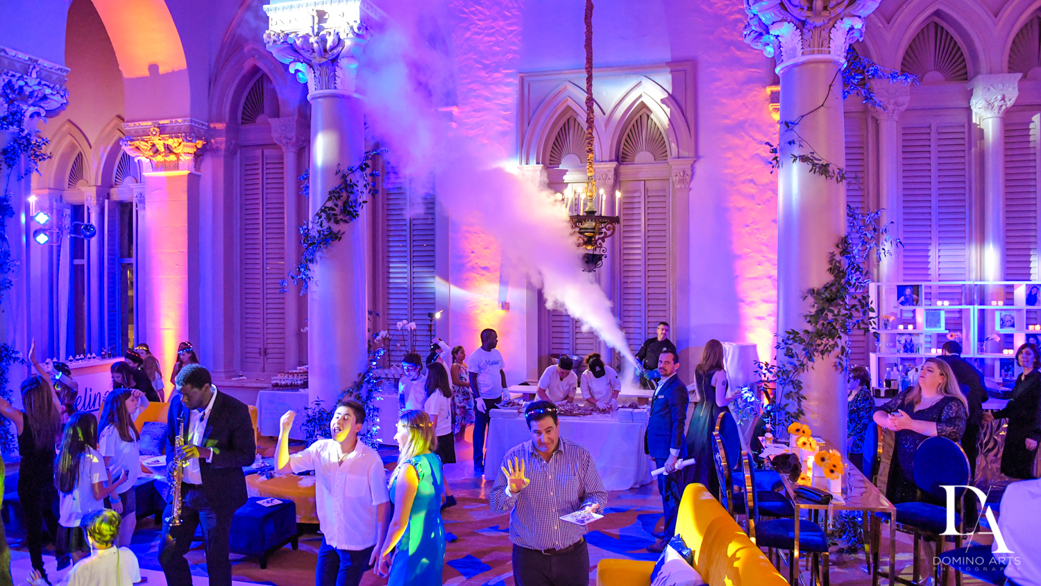 party smoke at Madeline in Paris theme Bat Mitzvah at Boca Raton Resort and Club by Domino Arts Photography