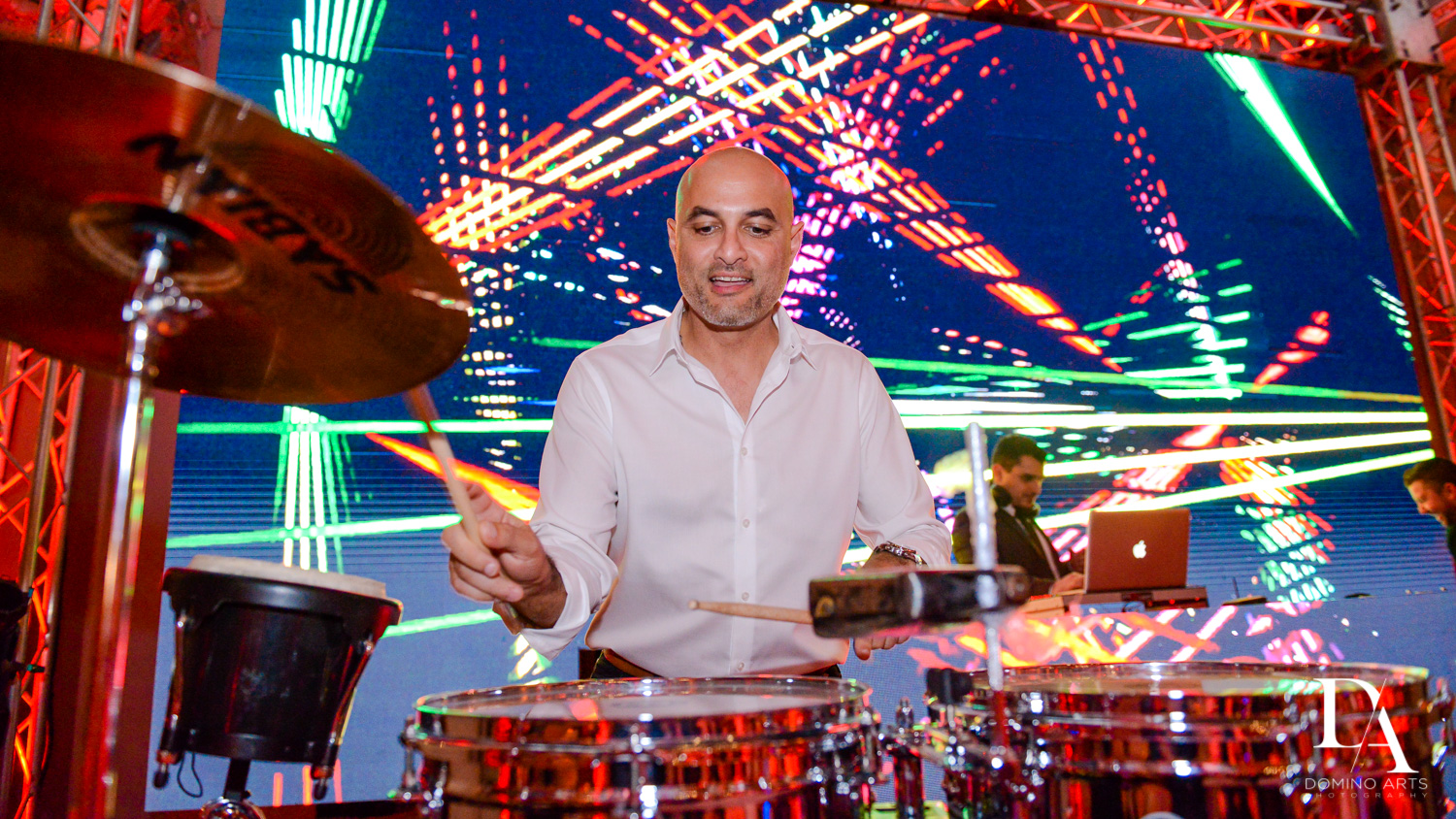 live percussionist at Madeline in Paris theme Bat Mitzvah at Boca Raton Resort and Club by Domino Arts Photography