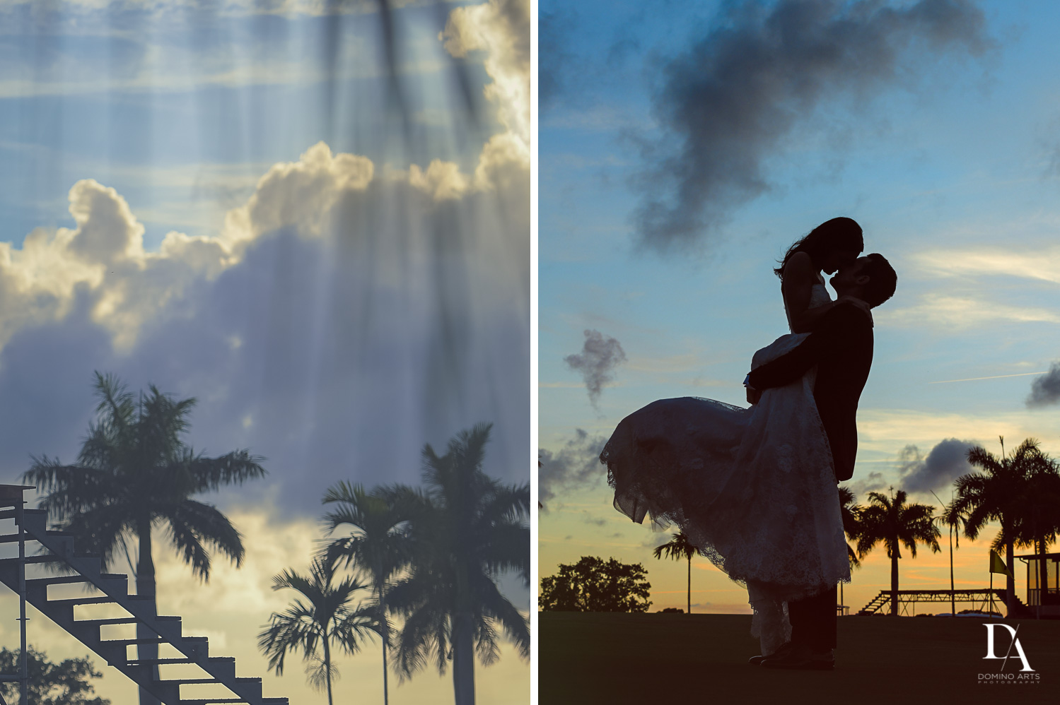creative sunset photos at Stunning Golf Course Wedding at PGA National Palm Beach by Domino Arts Photography