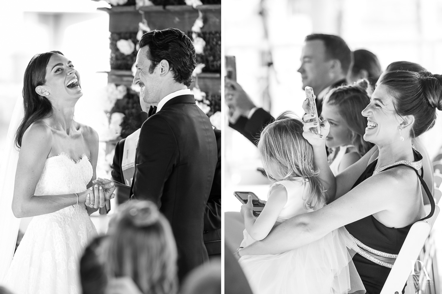 B&W ceremony at Stunning Golf Course Wedding at PGA National Palm Beach by Domino Arts Photography