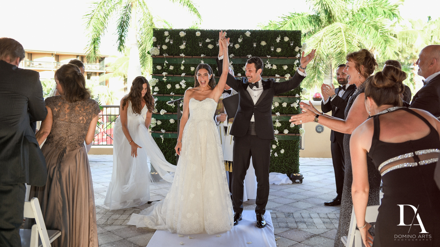Just Married at Stunning Golf Course Wedding at PGA National Palm Beach by Domino Arts Photography