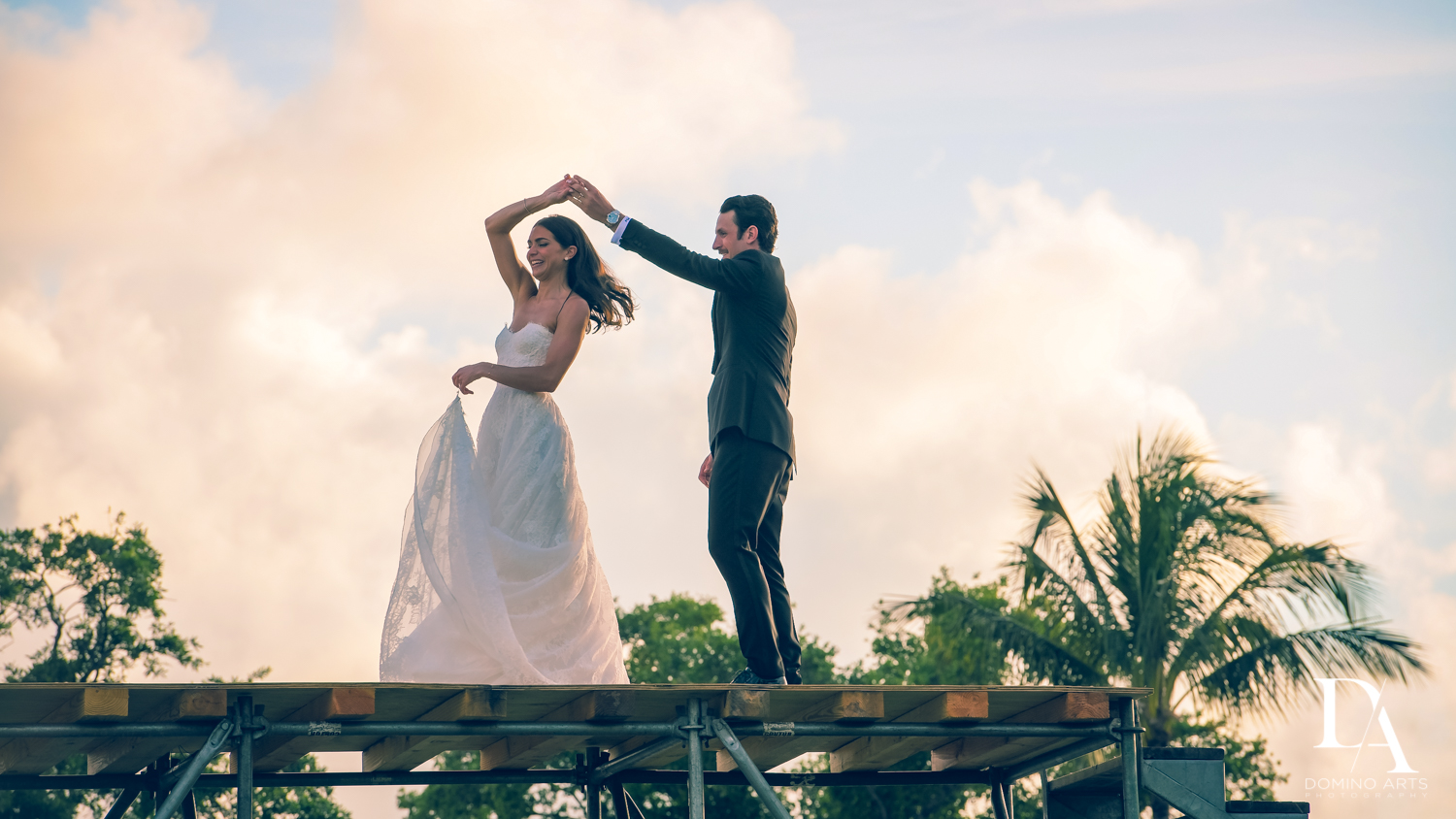 romantic spin at Stunning Golf Course Wedding at PGA National Palm Beach by Domino Arts Photography