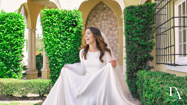 bridal dress at Hasidic Jewish Wedding at The Addison in Boca Raton by Domino Arts Photography