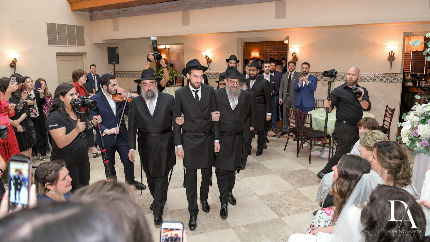 groom at bedeken at Hasidic Jewish Wedding at The Addison in Boca Raton by Domino Arts Photography