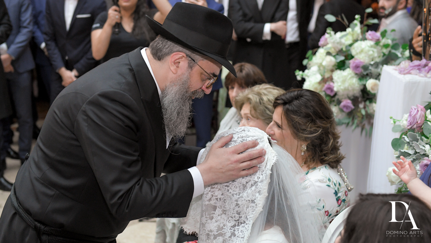 father at bedeken at Hasidic Jewish Wedding at The Addison in Boca Raton by Domino Arts Photography