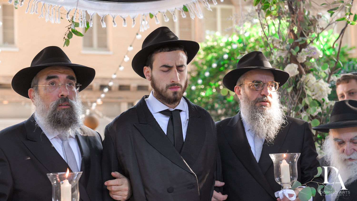 praying groom at Hasidic Jewish Wedding at The Addison in Boca Raton by Domino Arts Photography