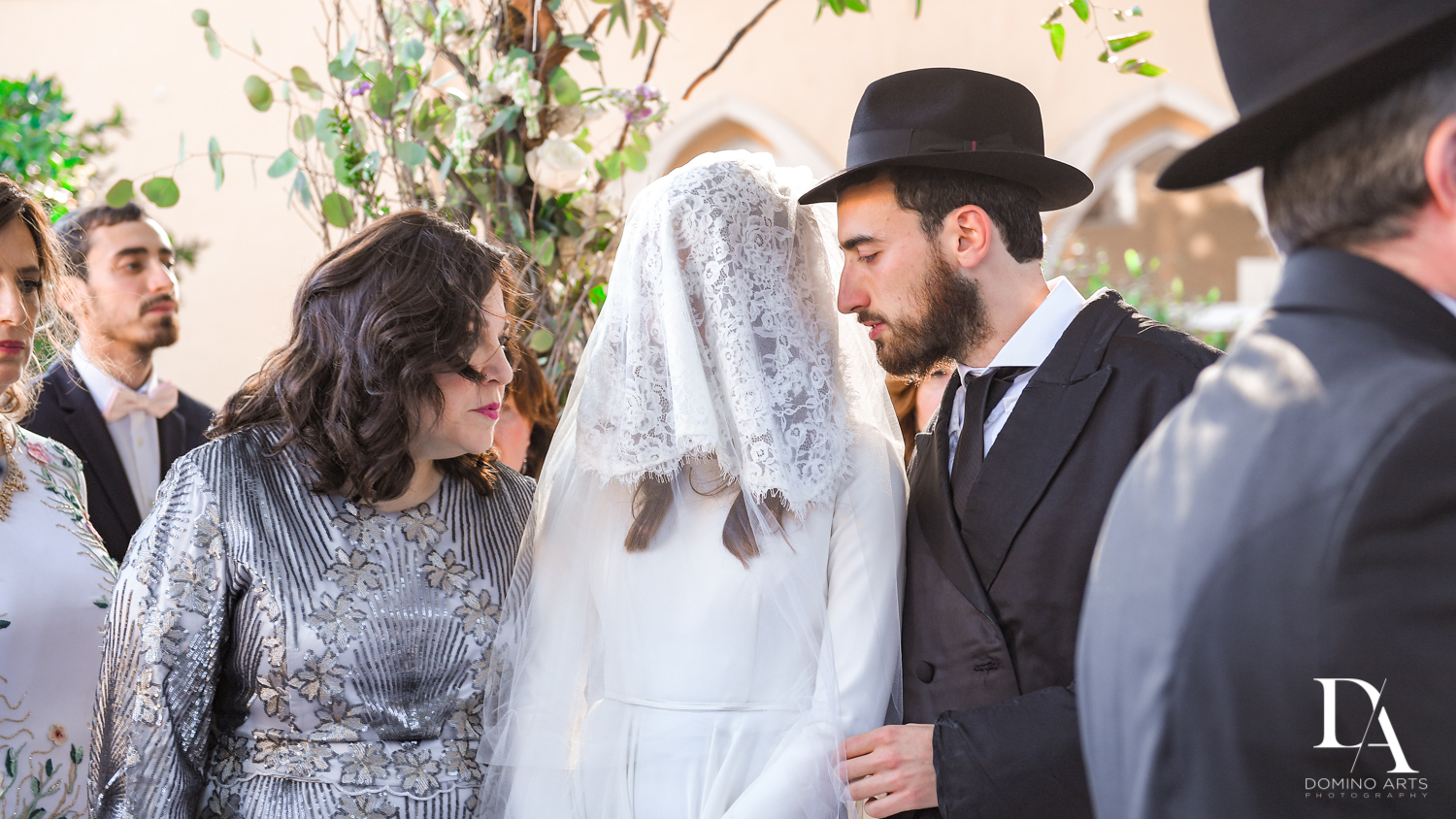 traditional brides veil at Hasidic Jewish Wedding at The Addison in Boca Raton by Domino Arts Photography