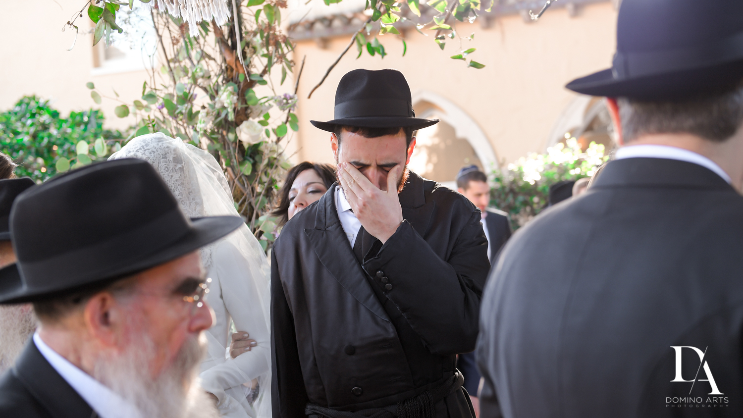 emotional groom at Hasidic Jewish Wedding at The Addison in Boca Raton by Domino Arts Photography