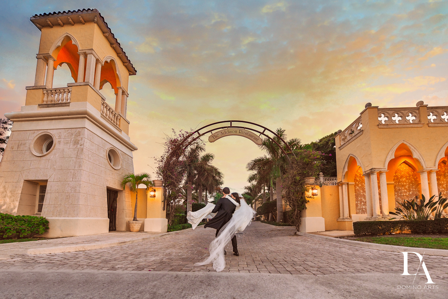 sunset portrait at Hasidic Jewish Wedding at The Addison in Boca Raton by Domino Arts Photography