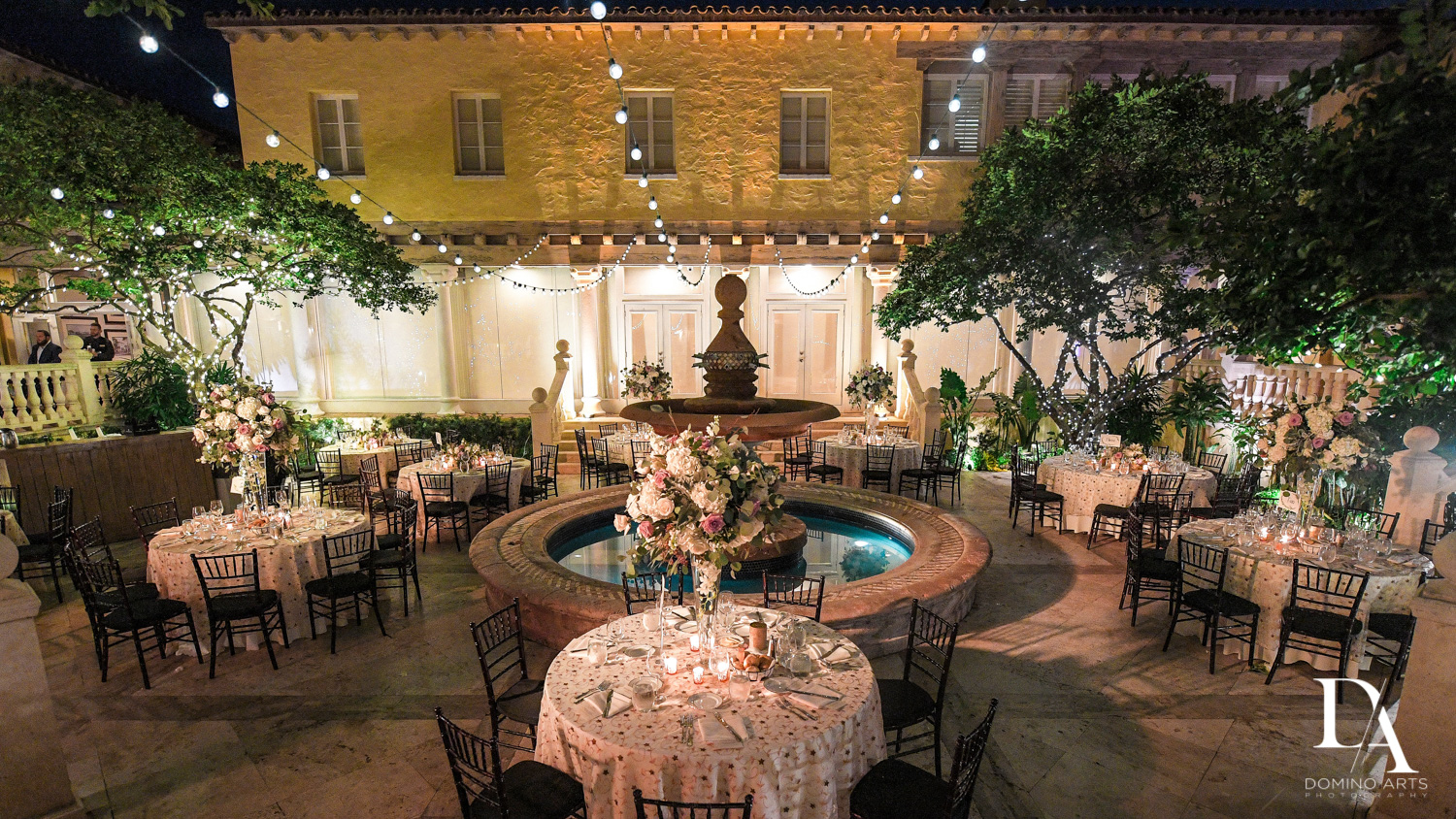 courtyard decor for Hasidic Jewish Wedding at The Addison in Boca Raton by Domino Arts Photography