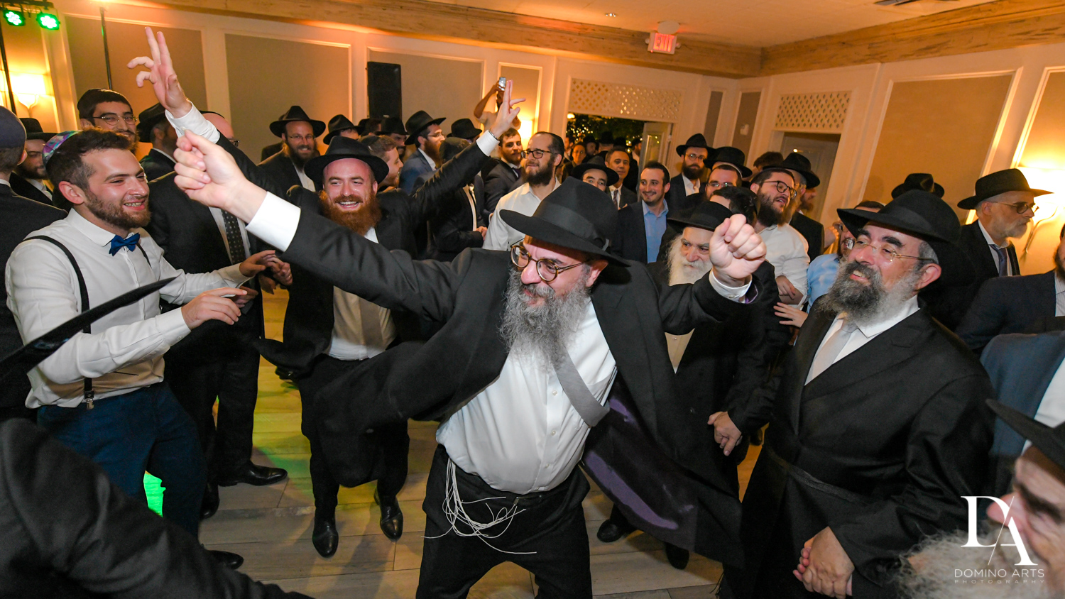 men dancing at Hasidic Jewish Wedding at The Addison in Boca Raton by Domino Arts Photography
