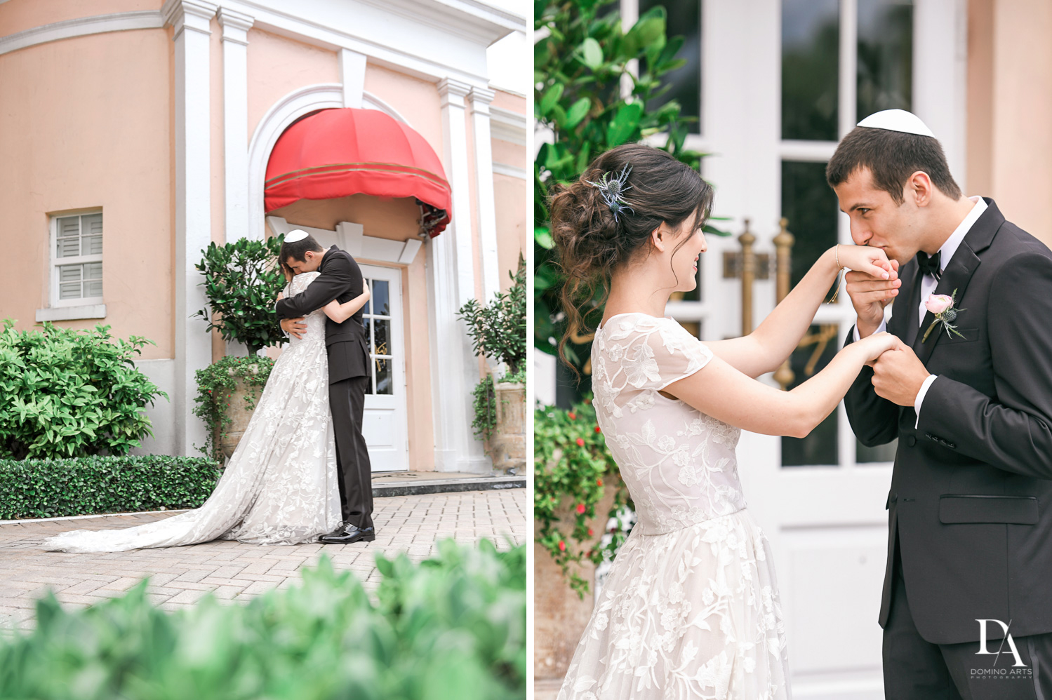 romantic first look at Luxury Summer Wedding at The Colony Hotel Palm Beach by Domino Arts Photography