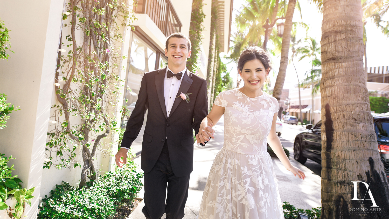 fun bride and groom at Luxury Summer Wedding at The Colony Hotel Palm Beach by Domino Arts Photography