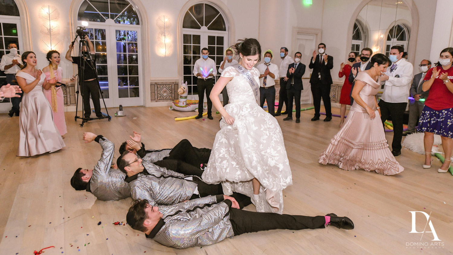 crazy fun bride party at Luxury Summer Wedding at The Colony Hotel Palm Beach by Domino Arts Photography