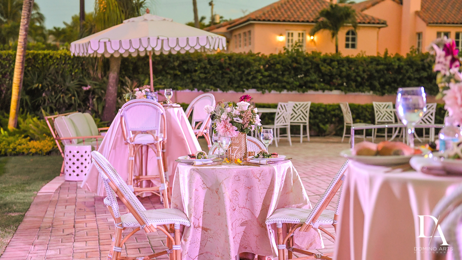 pastel outdoors decor at Luxury Summer Wedding at The Colony Hotel Palm Beach by Domino Arts Photography