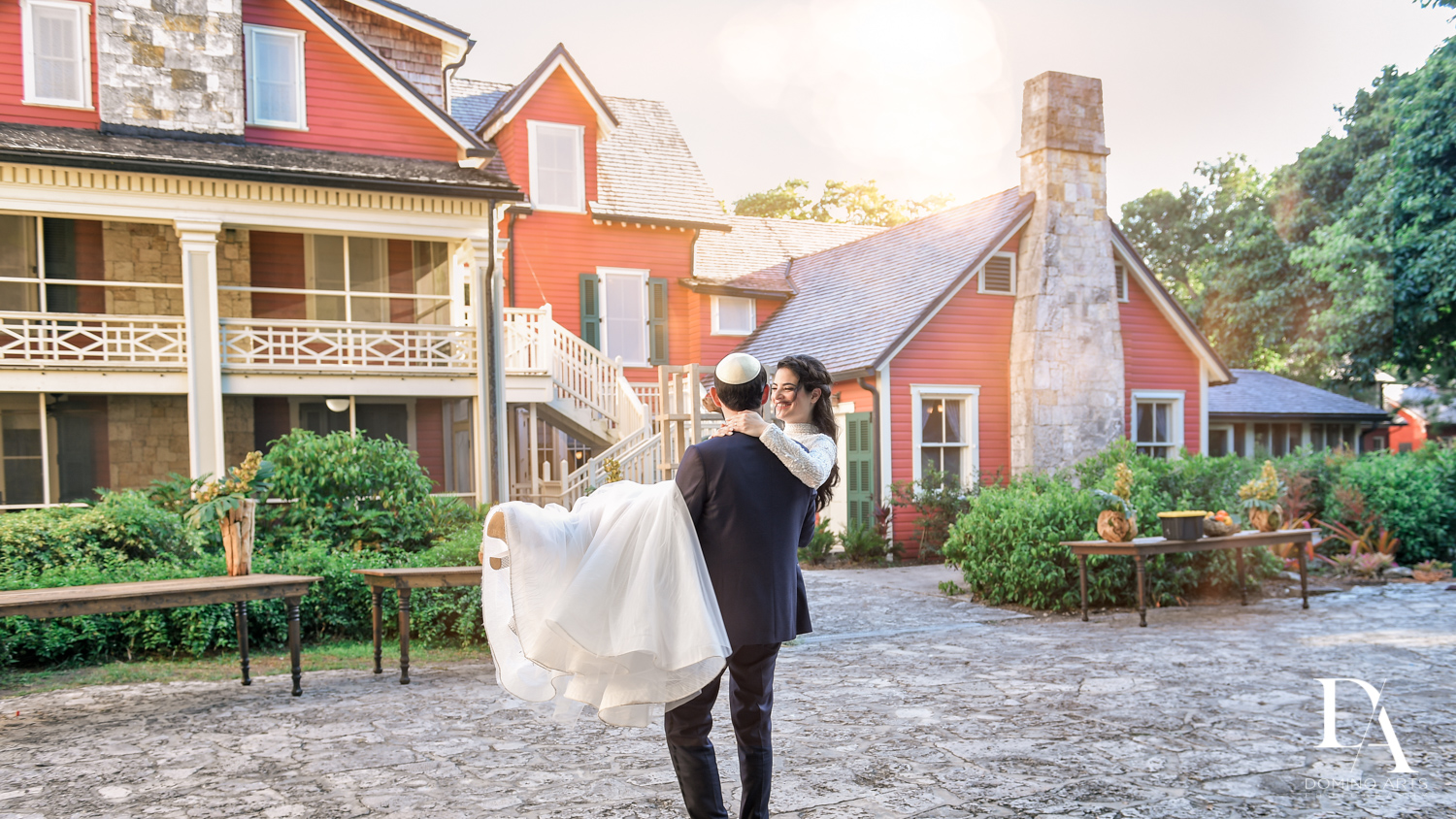 romantic portraits at Traditional Jewish Wedding at Deering Estate Miami by Domino Arts Photography
