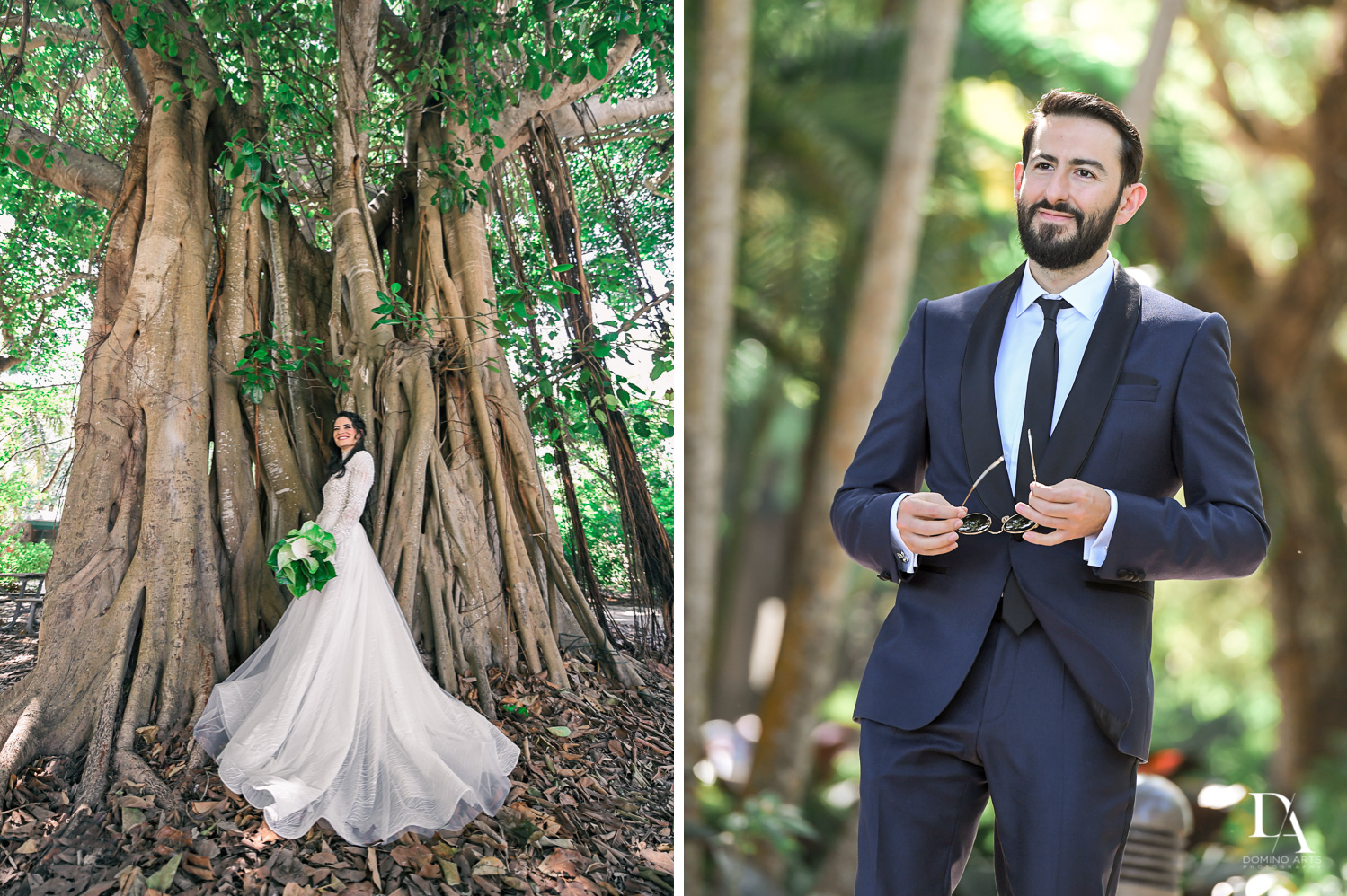 creative portraits at Traditional Jewish Wedding at Deering Estate Miami by Domino Arts Photography