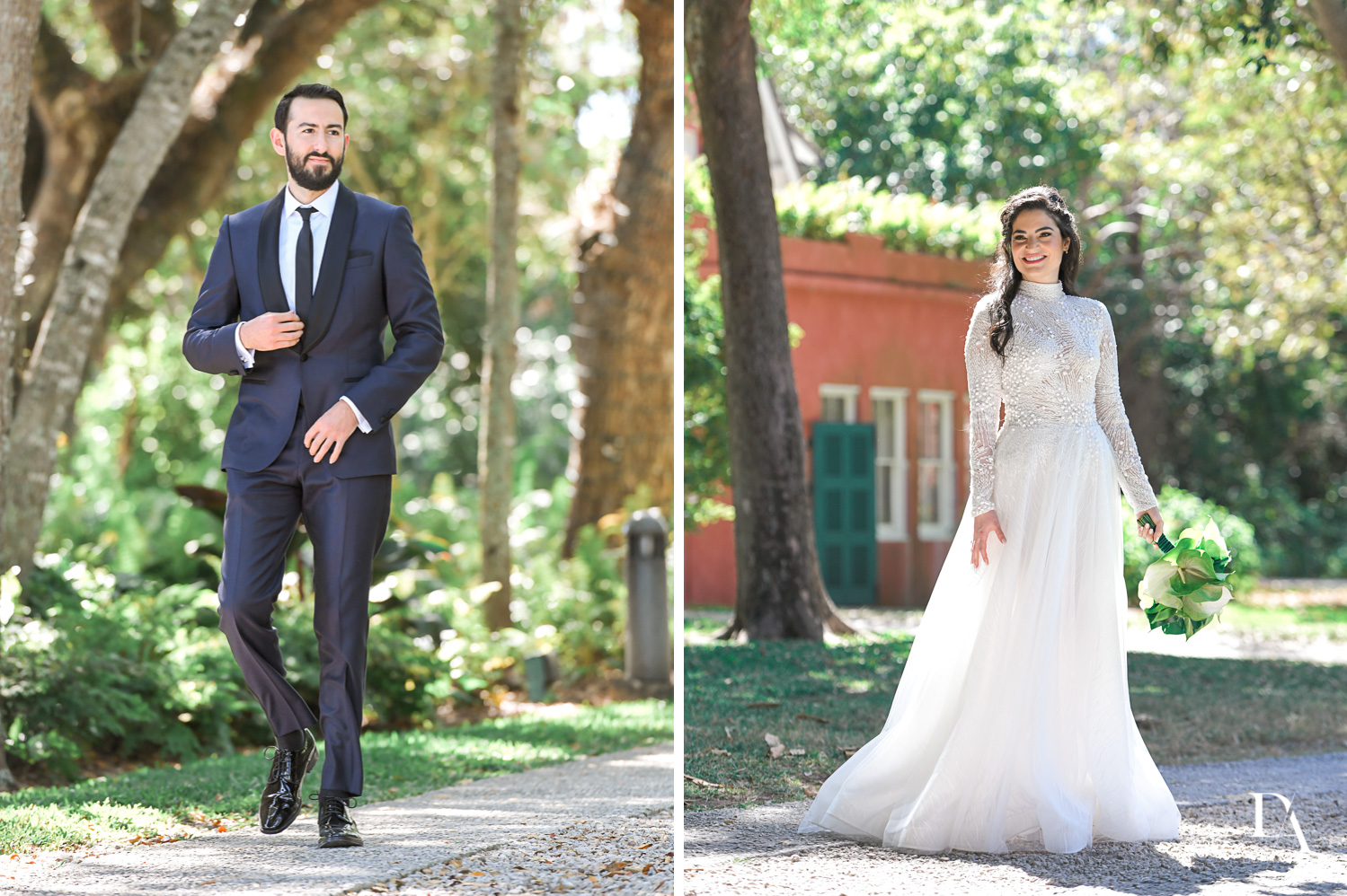 bruide and groom portraits at Traditional Jewish Wedding at Deering Estate Miami by Domino Arts Photography
