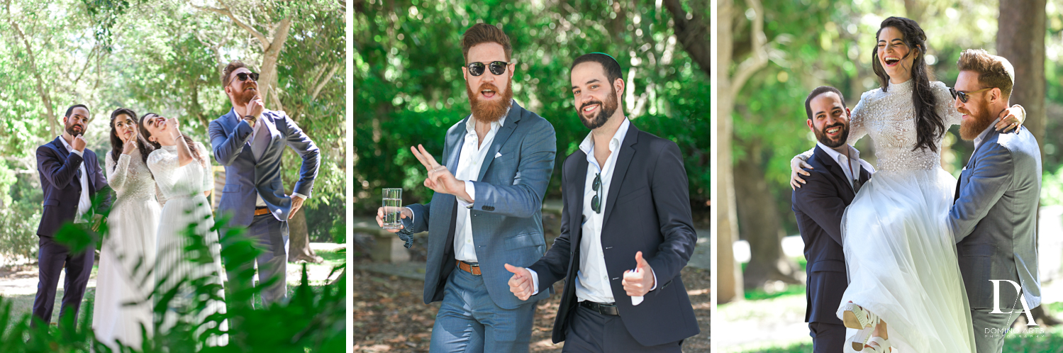 candids at Traditional Jewish Wedding at Deering Estate Miami by Domino Arts Photography
