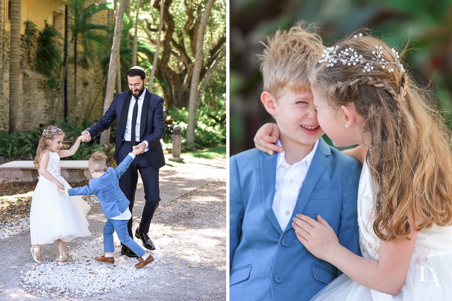kids at Traditional Jewish Wedding at Deering Estate Miami by Domino Arts Photography