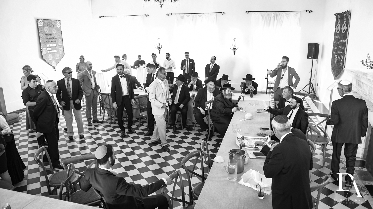 black and white photos at Traditional Jewish Wedding at Deering Estate Miami by Domino Arts Photography
