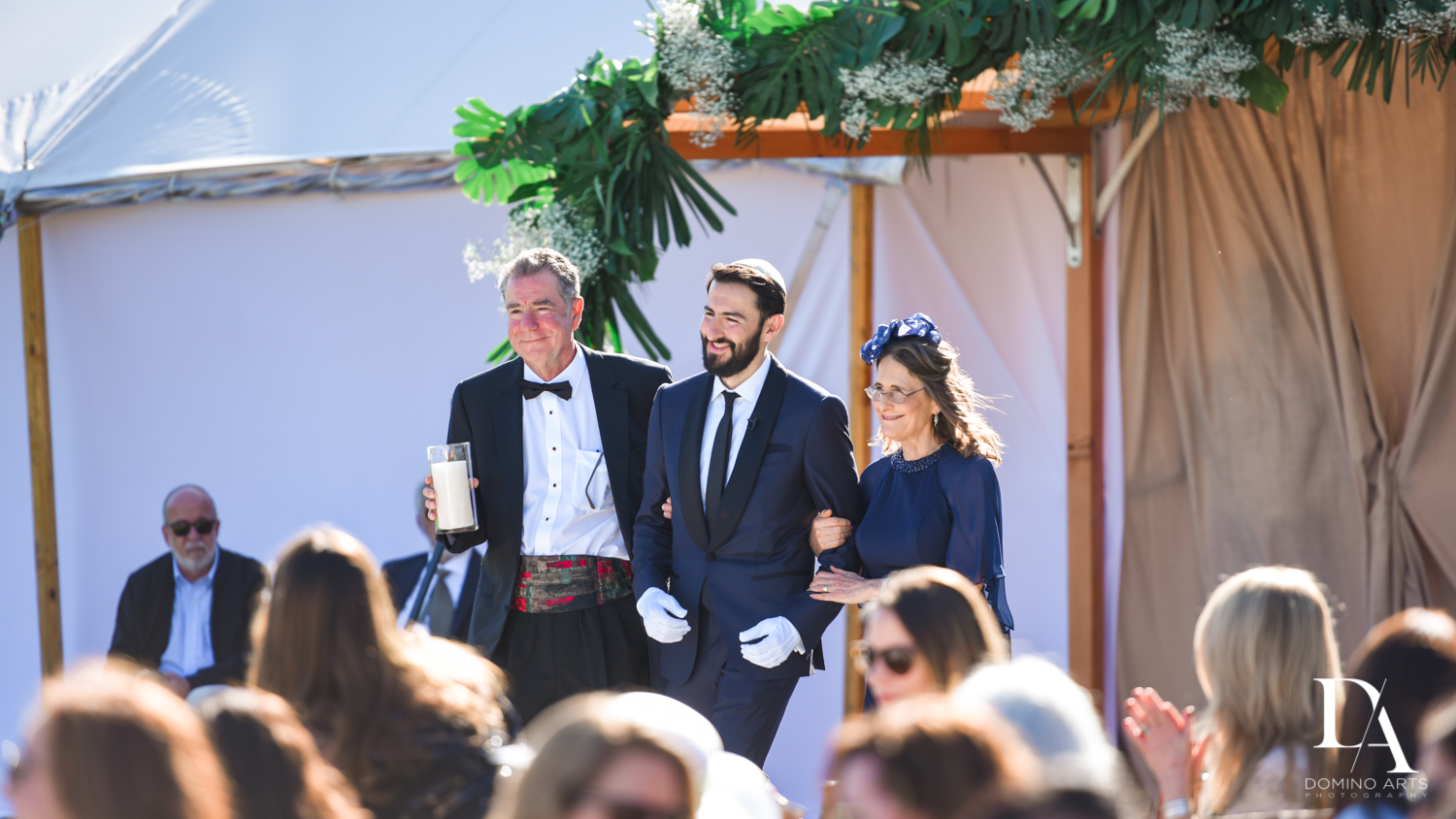 groom and parents at Traditional Jewish Wedding at Deering Estate Miami by Domino Arts Photography