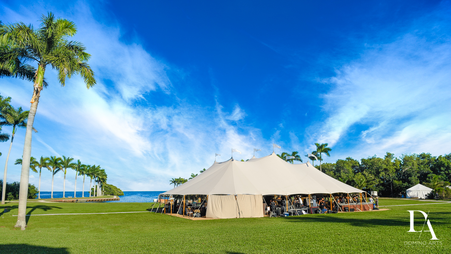 rental tent at Traditional Jewish Wedding at Deering Estate Miami by Domino Arts Photography