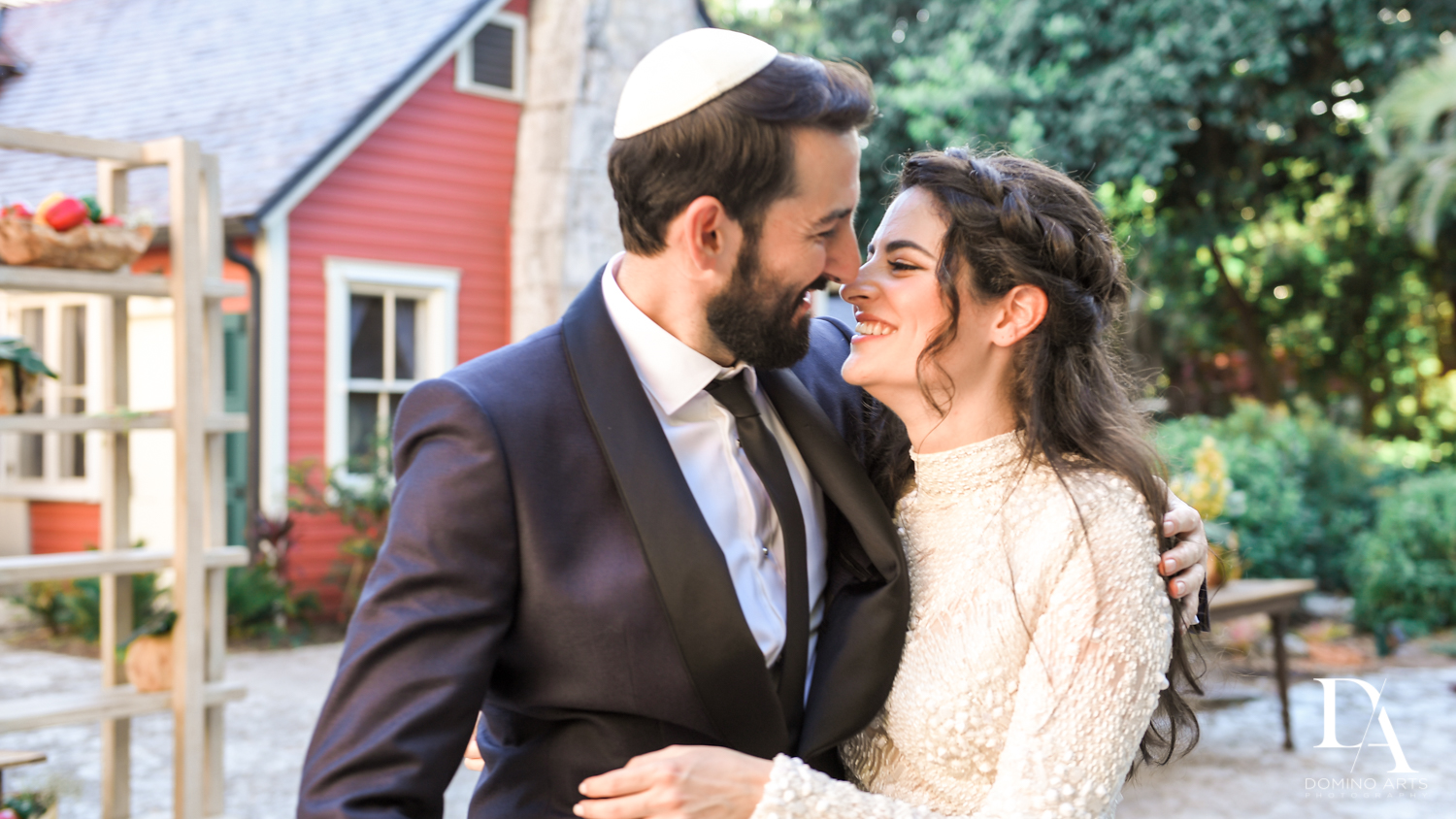 bride and groom at Traditional Jewish Wedding at Deering Estate Miami by Domino Arts Photography