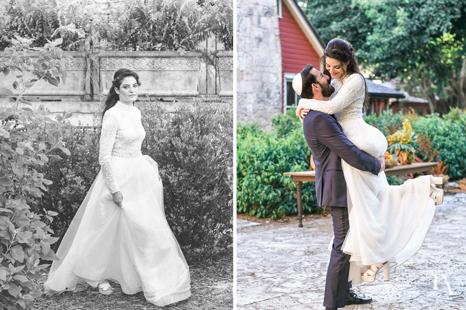 fun portraits at Traditional Jewish Wedding at Deering Estate Miami by Domino Arts Photography