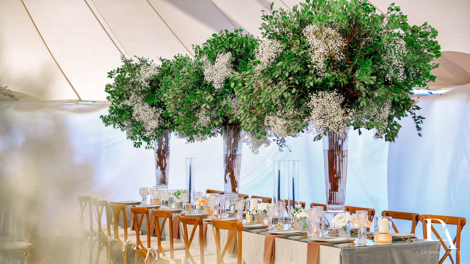luxury table decor for Traditional Jewish Wedding at Deering Estate Miami by Domino Arts Photography